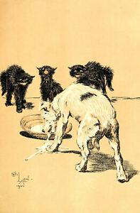 Framed Cecil Aldin Print - A Dog's Day circa 1900 (Antique Animal Picture Art)