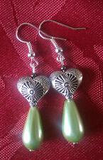 Drop glass pearl bead, green, drop dangle, silver plated hook, tibetan bead 145
