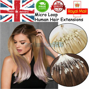 14''-24'' Double Drawn Micro Ring Beads Easy Loop Human Hair Extensions 1G/S UK