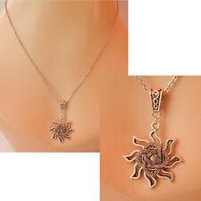 Sun Necklace Silver Celtic Pendant Jewelry Handmade Chain Women Fashion NEW