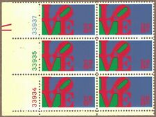 1973 LOVE PLATE BLOCK OF SIX STAMPS, FIRST IN THE LOVE SERIES, SCOTT 1475 MNH
