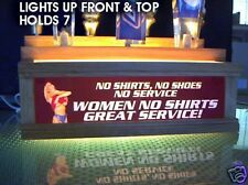 beer tap handle holder Led lighted no shirts no shoes no service sign  holds 7