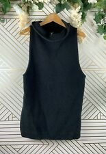 FREE PEOPLE Black High Mock Neck Sleeveless Top Size XS Ribbed Knit