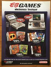EB Games Gameboy Advance SP 3DS 2003 Vintage Poster Ad Art Mario 64 Donkey Kong