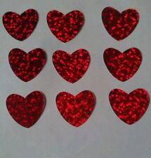 Hotfix iron on transfers 50 red hologram 2cm hearts