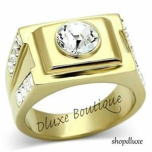 MEN'S ROUND CUT CUBIC ZIRCONIA 14K GOLD PLATED STAINLESS STEEL RING SIZE 8-13