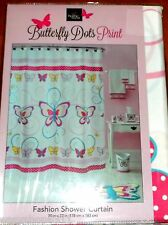 """""""COLORFUL BUTTERFLYS"""" PRINT FABRIC SHOWER CURTAIN  70""""X72""""  NEW IN BAG"""