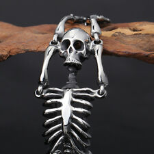 316L Stainless Steel Skeleton Skull Bracelet Biker Chain Men Bangle Punk Jewelry