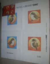 DMC EMBROIDERY FABRIC CLOTH PASTELS A BRODER FOUR BIRDS SPARROWS LES MOINEAUX