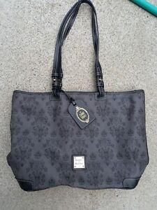 Disney Dooney & Bourke Haunted Mansion wallpaper Large tote gray purse bag black