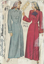 1947 Vintage Sewing Pattern B36 HOUSE COAT (1818)