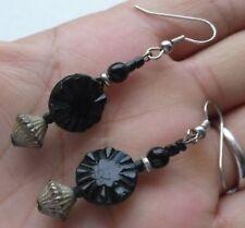 boucles d'oreille percée tombantes couleur argent pierre noir vintage 4388