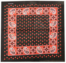 """Lot of 12 Paisley Small Floral Flower Red Black 22""""x22"""" Cotton Bandanna"""