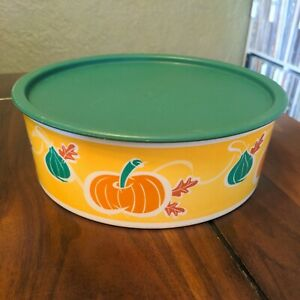 Tupperware Fall Pumpkin Cookie Snack One Touch Canister 3421 Green Seal