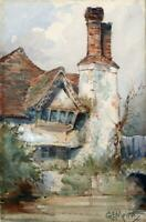 GERALD EDWARD MOIRA Small Watercolour Painting COTTAGE & RIVER LANDSCAPE