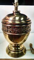 "Brass Table Lamp Hollywood Regency Ginger Jar Urn Lamp 25"" Tall Vintage"