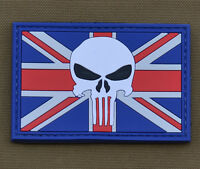 "PVC / Rubber Patch ""UK Flag Punisher"" with VELCRO® brand hook"