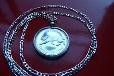 """Silver Mountain Lion Canadian Coin Bezel Pendant on a 30"""" Sterling Silver Chain"""
