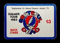 Grateful Dead Backstage Pass Austin Texas TX Manor Downs 9/13/83 9/13/1983 SYF
