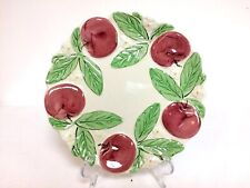 """Vintage Au Bain Marie French Majolica Apple Plate High Relief 8.75"""""""