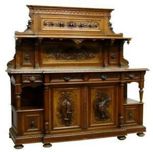 Antique Cabinet, Sideboard, Sid Hunt, French Marble-Top Walnut, 1800s, Gorgeous!