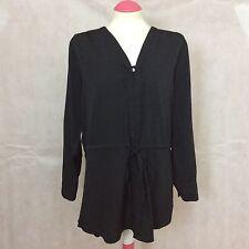 Savoir ladies black long sleeve long blouse size 16