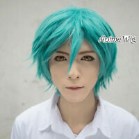 30CM Short Layered Style Fancy Anime Cosplay Turquoise Men Green Hair Wig
