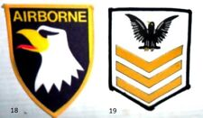 WHOLESALE JOB LOT x125  patches: AIRBORNE EAGLE  AND CHEVRON STRIPES WITH EAGLE
