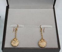 MAGNIFICENT BRAND NEW GUCCI 18K YELLOW GOLD DIAMOND PAIR OF EARRINGS BAG & BOX