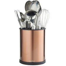 VonShef Utensil Holder Copper 18cm Rotating Stainless Steel Kitchen Storage