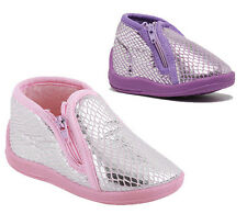 Toddler Girls Slippers Grosby Rattle Pink/Purple with Silver Zip Up Slipper 3-8