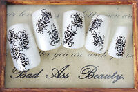 Black Roses Dots Tail Flowers Water Transfers Nail Art Sticker Decals Decoration