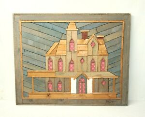 Vintage Theodore Degroot Austin Lath Art Rustic Wood 3D Farm House Signed
