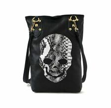 Punk Black Skull Face PU Leather Handbag Women Shoulder Tote Crossbody Bag Soft