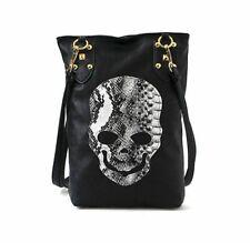 Punk Black Skull Face PU Leather Handbag Women Shoulder Tote Crossbody Bag Soft