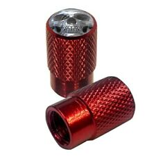 2 Red Billet Knurled Tire Valve Cap Motorcycle - CHROME SKULL - 028