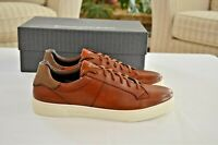 NEW Ermenegildo Zegna Vittorio Sneakers Natural Brown Leather, Size EU 9 – US 10