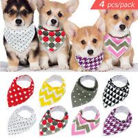 4pcs Soft Cotton Dog Bandana Collar Neckerchief Scarf Adjustable for Pets Gifts