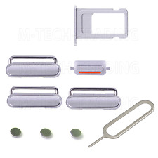 FOR IPHONE 6S SILVER POWER VOLUME MUTE BUTTON SIMTRAY SET & PIN CONTACTS PARTS