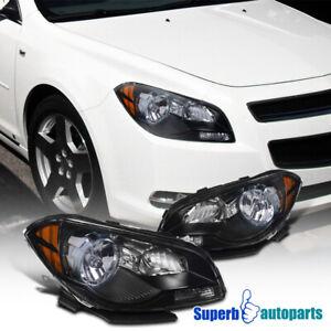 For 2008-2012 Chevy Malibu Headlights Diamond Head Lamps Pair LH+RH Black
