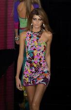 VERSACE RUNWAY S/S 2003 Silk Floral Mini Dress Sz IT 40 US 4/6