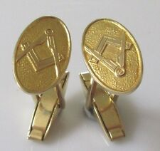 Vintage 9ct yellow gold oval masonic compass & square 1969 swivel back cufflinks