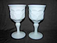 """Indiana White Milk Glass Constellation Pair of 7"""" Water Goblets"""