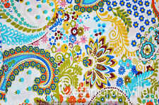 Cotton White Paisley Indian Hand Block Print Sewing Material Craft By The Yard