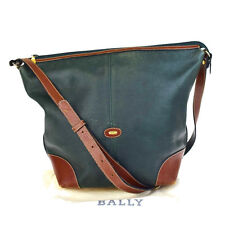 Authentic BALLY Logos Men's Cross Body Shoulder Bag Leather Green Brown 03V1089