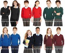 EX M&S Long sleeve V Neck Jumper School Uniform Unisex Cotton Rich boys girls