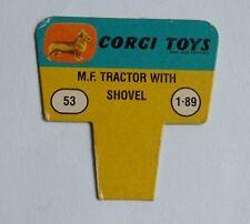 No. 53 MF Tractor with Shovel 1960's US Corgi Toys Shop Display Price Ticket