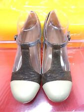 Jeffrey Campbell California Aina 2 Heels T-Strap Slingback Leather Pumps Size 9