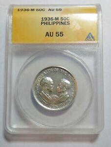 1936 M PHILIPPINES FITHY CENTAVOS AU55 ANACS