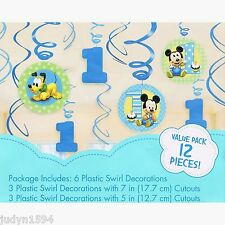 PKT OF 12 MICKEY MOUSE 1ST BIRTHDAY SWIRLS PARTY HANGING DECORATIONS PLUTO